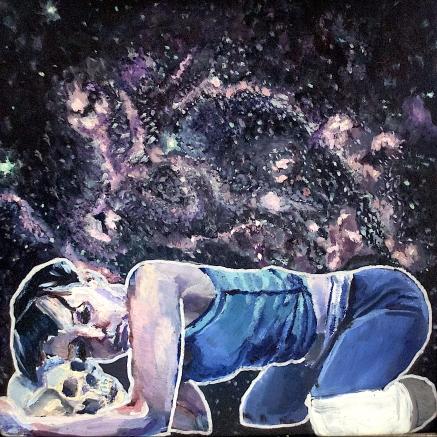 Resurrecting Bones. Acrylic & Oil on Glass. 12x12. 2017. Eve's Destination Underworld.