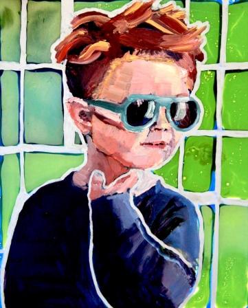 Portraits on Demand. A Wake Up. Acrylic and Oil on Glass. 2017. Eve's Big Heart.